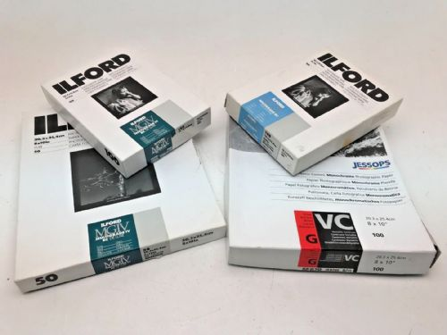 Various boxes of black and white Ilford photographic paper